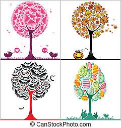 stilisiert, satz, bunte, bäume