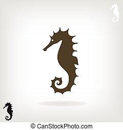 stilisiert, silhouette, horse., meer