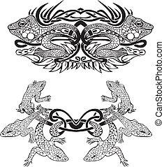 stilisiert, symmetrisch, vignette, eidechsen