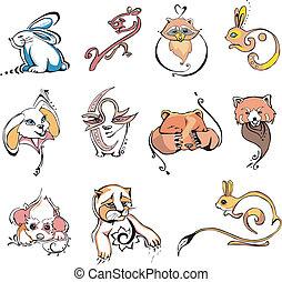 stilisiert, tiere, verschiedenes