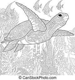 stilisiert, turtle, fische, zentangle