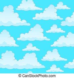 stilisiert, wolkenhimmel, seamless, hintergrund
