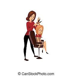 stilista, parrucchiere, giovane, illustrazione, taglio capelli, vettore, posto lavoro, donna femmina, professionale, cartone animato