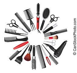 stiliszta, alkat, gyűjtés, haj, profi, eszközök
