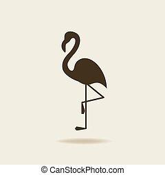 stilizált, flamingó, árnykép