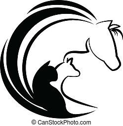 stilizált, jel, ló, kutya, macska