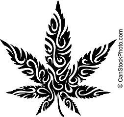 stilizált, levél növényen, marihuána