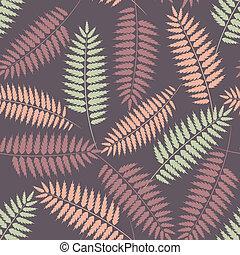 stilizált, motívum, zöld, seamless, páfrány