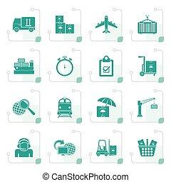 stilizált, munkaszervezési, hajózás, rakomány, ikonok