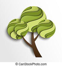 stilizált, nyár, fa