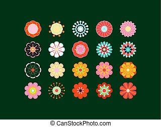 stilizált, nyár, mód, színezett, elements., eredet, set., ...