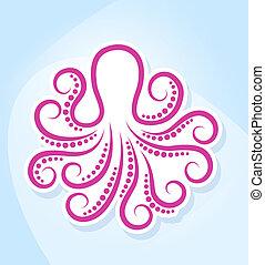 stilizált, octopus.