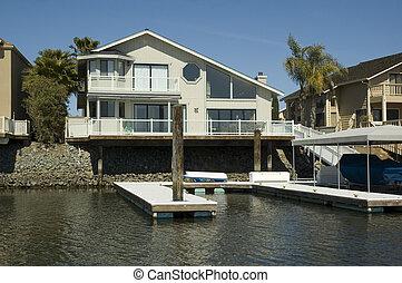 stilizált, otthon, waterfront