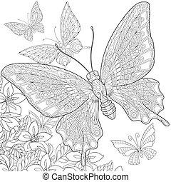 stilizált, pillangók, zentangle