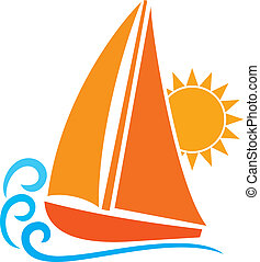 stilizált, (sailboat, symbol), jacht