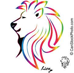 stilizált, színes, oroszlán, fej, árnykép, jel, vektor, ikon