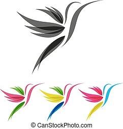 stilizált, színezett, colibri