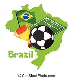 stilizált, térkép, közül, brazília, noha, focilabda, és, lobogó