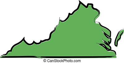 stilizált, térkép, skicc, zöld, virginia