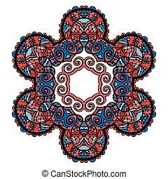 stilizált, törzsi, mandala, karika, dekoratív, lelki, indiai, jelkép, közül, lotus virág, kerek, díszítés, motívum, vektor, ábra, felett, white háttér, noha, piros, blue, color.