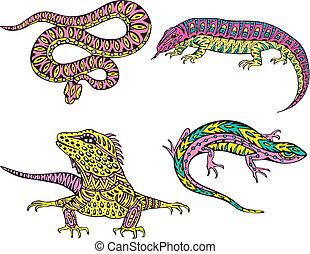 stilizált, zavaros, kígyó, gyíkok
