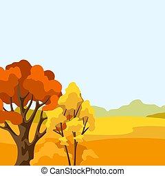 stilizzato, alberi., paesaggio autunno, fondo