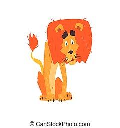 stilizzato, appartamento, leone, confuso, cartone animato