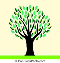 stilizzato, astratto, albero