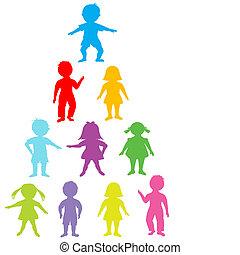 stilizzato, bambini, gruppo, colorato