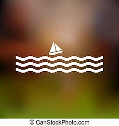 stilizzato, barca vela, e, onde