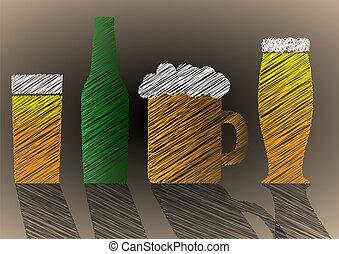 stilizzato, birra, scarabocchio