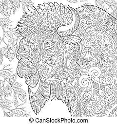 stilizzato, bisonte, zentangle