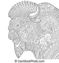 stilizzato, bufalo, zentangle