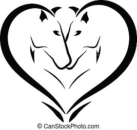 stilizzato, cavalli, amore, logotipo