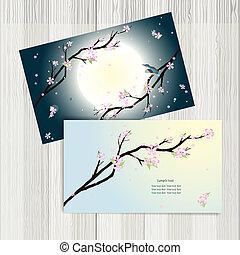 stilizzato, ciliegia, blossom., cartelle, affari