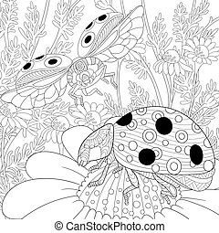 stilizzato, coccinelle, due,  zentangle