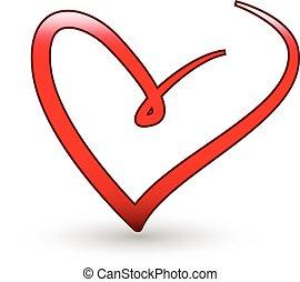stilizzato, cuore, amore, logotipo