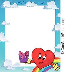 stilizzato, cuore, cornice, tema, 3