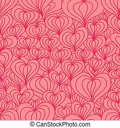 stilizzato, cuori, seamless, rosso