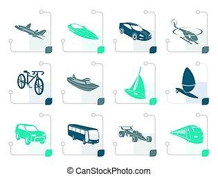 stilizzato, differente, tipo, di, trasporto, e, icone corsa