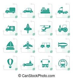 stilizzato, differente, tipo, di, trasporto, icone