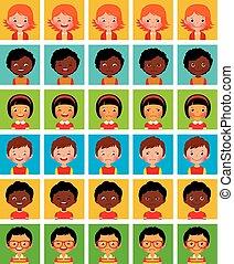 stilizzato, differire, set, avatars