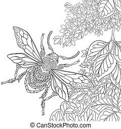 stilizzato, disegnato, insetto, mano, scarabeo