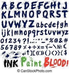stilizzato, disegnato, mano, font., inchiostro