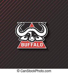 stilizzato, emblema, illustration., animali, creativo, idea., vettore, disegno, artistico, buffalo., logotipo, template.