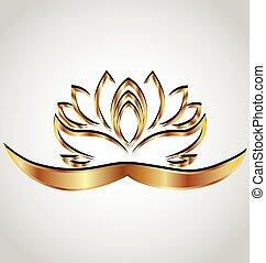 stilizzato, fiore loto, oro, logotipo