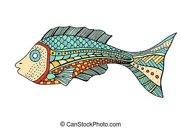 stilizzato, fish, zentangle
