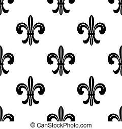 stilizzato, francese, lys de fleur, seamless, modello