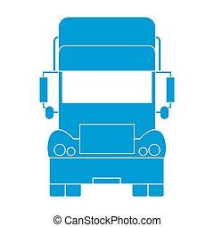 stilizzato, fronte, camion, icona