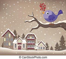 stilizzato, inverno, uccello